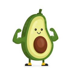 cute happy strong smiling avocado vector image vector image