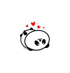 cute panda in love and rest vector image