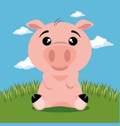 cute pig animal cartoon vector image