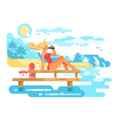 Cute woman lifeguard looking through binoculars vector