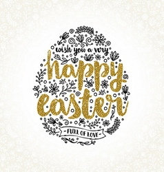 Easter greeting card with hand drawn element and vector
