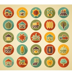 Farm Field retro flat icon with long shadow vector image