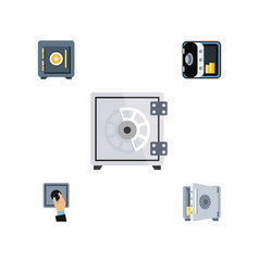 Flat icon safe set of banking saving security vector