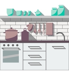 Flat kitchen room vector image