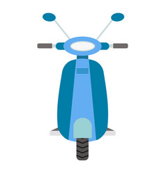 Front view blue scooter flat vector