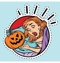 Girl scared halloween evil pumpkin vector