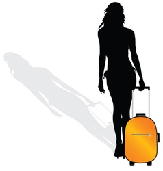 girl with a suitcase silhouette vector image vector image