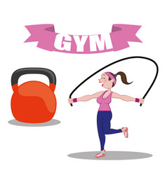 Gym fitness woman jump rope barbell vector