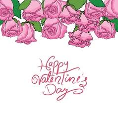 happy valentine n pink roses frame vector image vector image