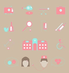 Hospital and emergency color icons on brown vector image