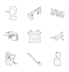Jocularity icons set outline style vector