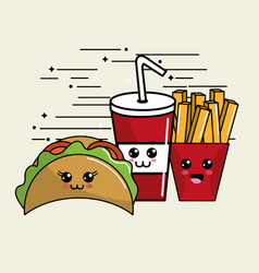Kawaii fast food icon adorable expression vector