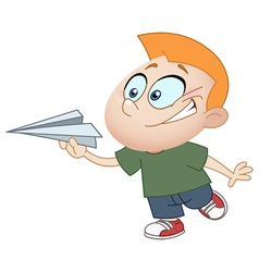 Kid with paper plane vector