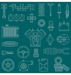 Line flat icon car parts set with vector