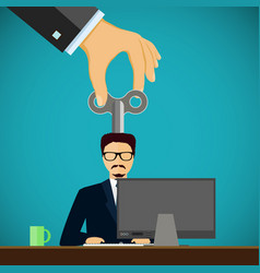 Man sitting on the workplace personnel management vector