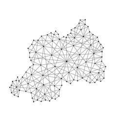 Map of rwanda from polygonal black lines and dots vector