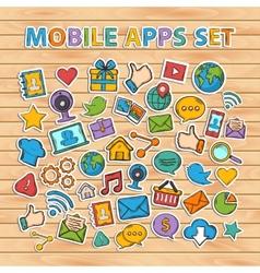 Mobile apps scrap setscrapbook setsticker vector