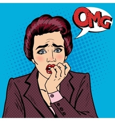 Nervous business woman biting her fingers pop art vector