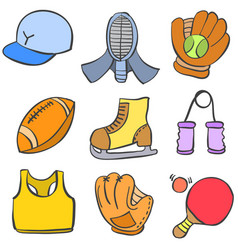 Object sport various of doodle style vector