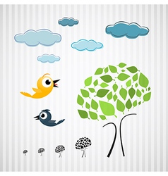 Paper Trees Birds and Clouds on Cardboard vector image vector image