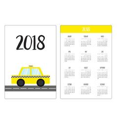 Pocket calendar 2018 year week starts sunday taxi vector