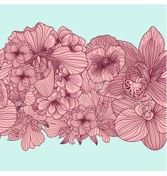Seamless vintage flower border vector