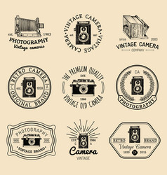 set of old cameras logos vintage photo vector image vector image