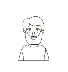 Sketch contour half body man bearded with t-shirt vector
