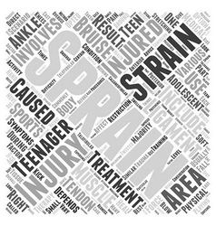 Sprains and strains in adolescents word cloud vector