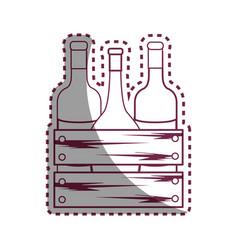 Sticker line different wine bottles icon vector