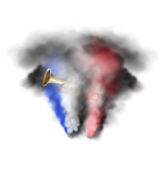 trumpet in smoke vector image