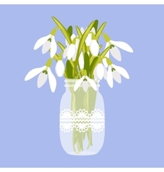with vase and snowdrops vector image vector image