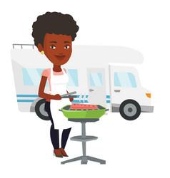 Woman having barbecue in front of camper van vector