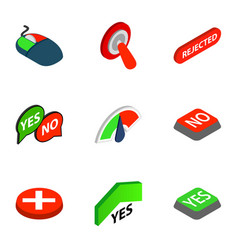 yes and no button icons isometric 3d style vector image