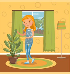 young woman in casual clothing watering her potted vector image