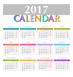 Calendar for 2017 on white background vector