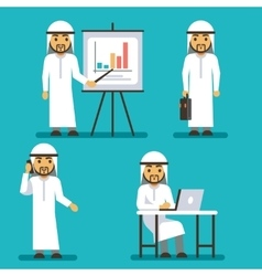 Arab man character in different business vector