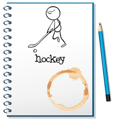 A notebook with a person playing hockey at the vector