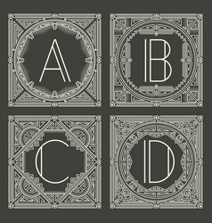 Set of floral and geometric monogram logos with vector
