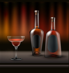 Two alcohol bottles vector