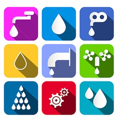 Colorful water symbols - icons set vector