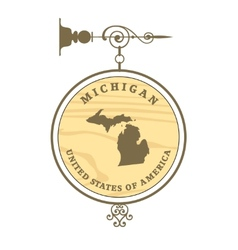 Vintage label michigan vector