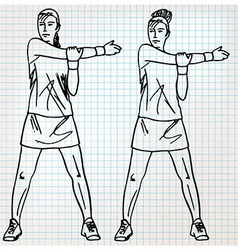 Stretching exercises sketch vector image