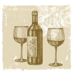 Hand drawn wine vector