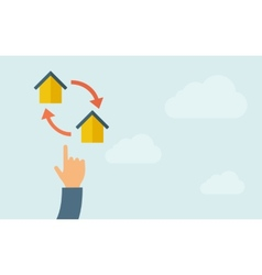 Hand pointing to little houses with arrow vector