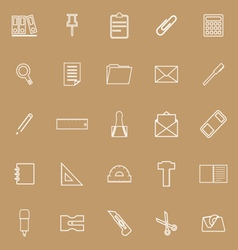Stationery line icons on brown background vector