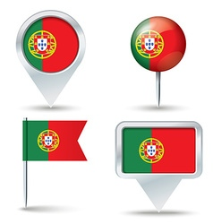 Map pins with flag of portugal vector