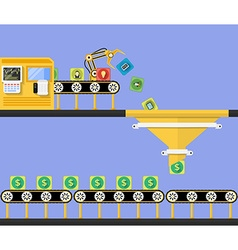 Start up concept money making conveyor vector