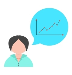 Business woman with speech bubble and graph vector