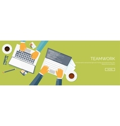 Flat header teamwork smart vector